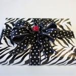 Zebra Giftwrap with Polka dot bow