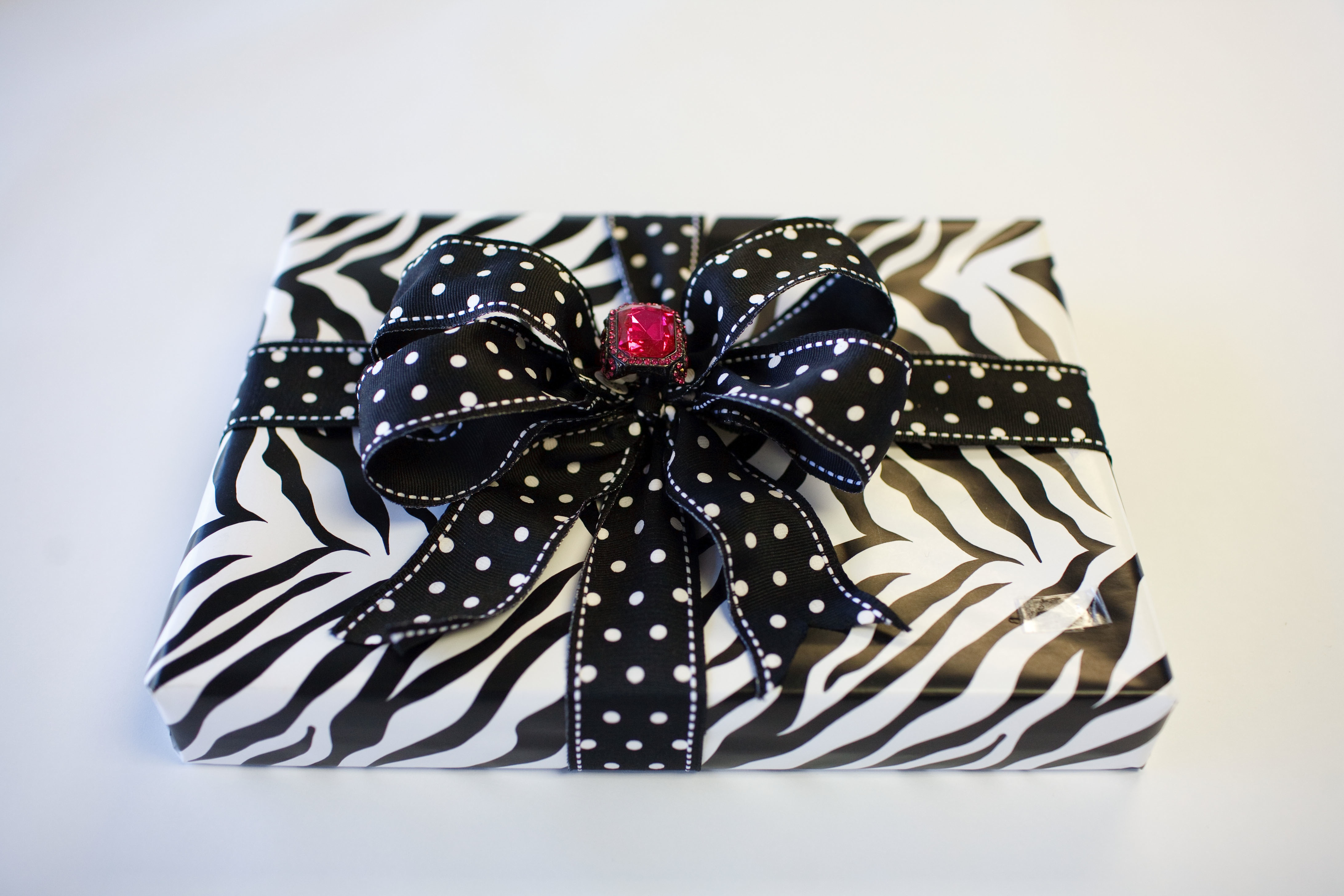 Zebra Giftwrap with Polka dot bow