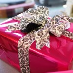 Hot Pink Gift with black and white bow
