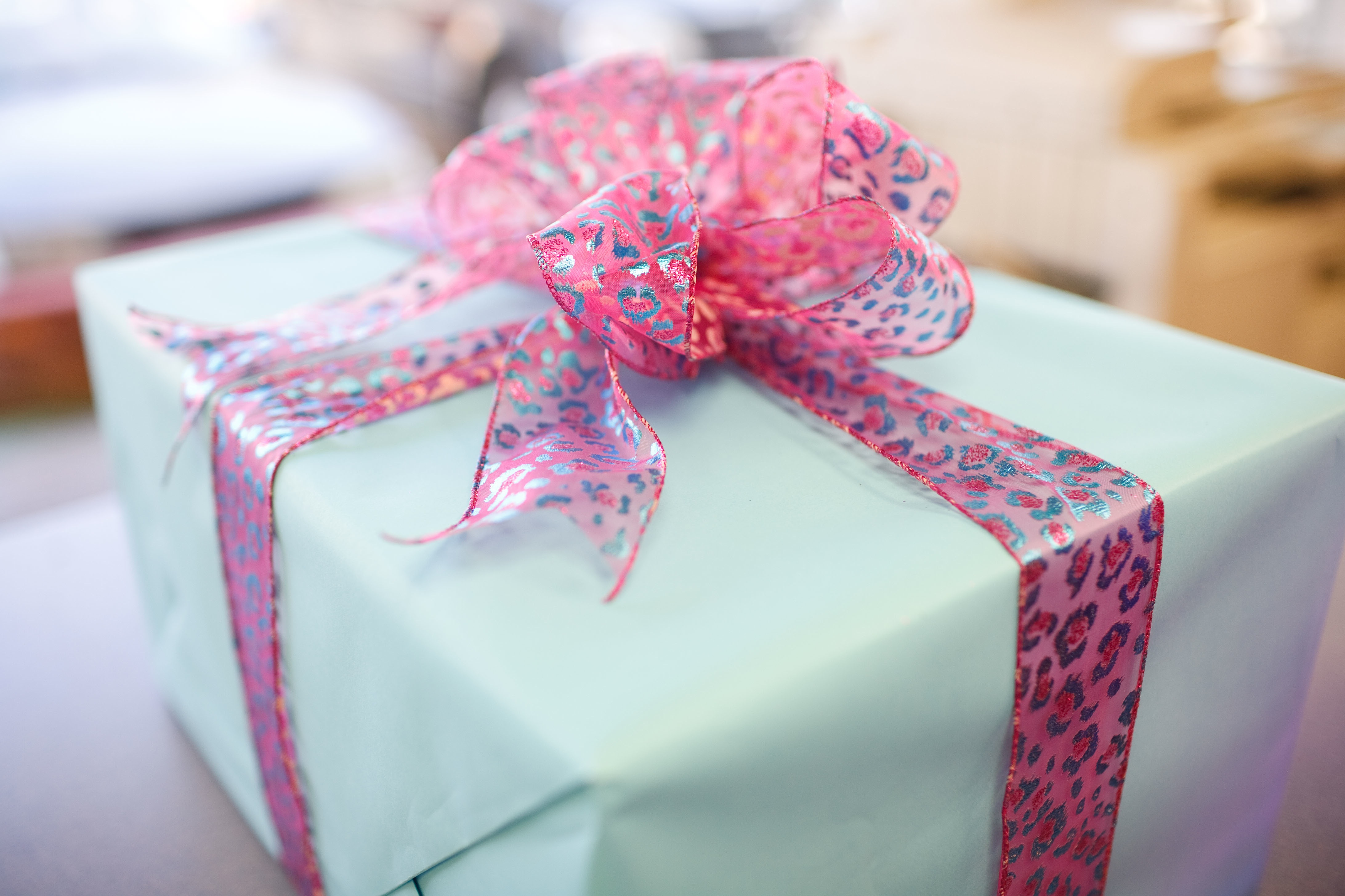 Blue Gift Wrap with Pink Bow